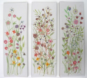 Meadow canvas x 3-recycled, stitched textiles, 10x30cm each-2013-£42 each